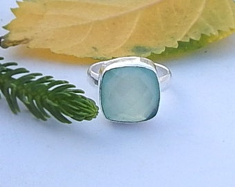 Cushion Cut Aqua Chalcedony Gemstone 925 silver Ring , Solid Sterling silver Ring Jewelry