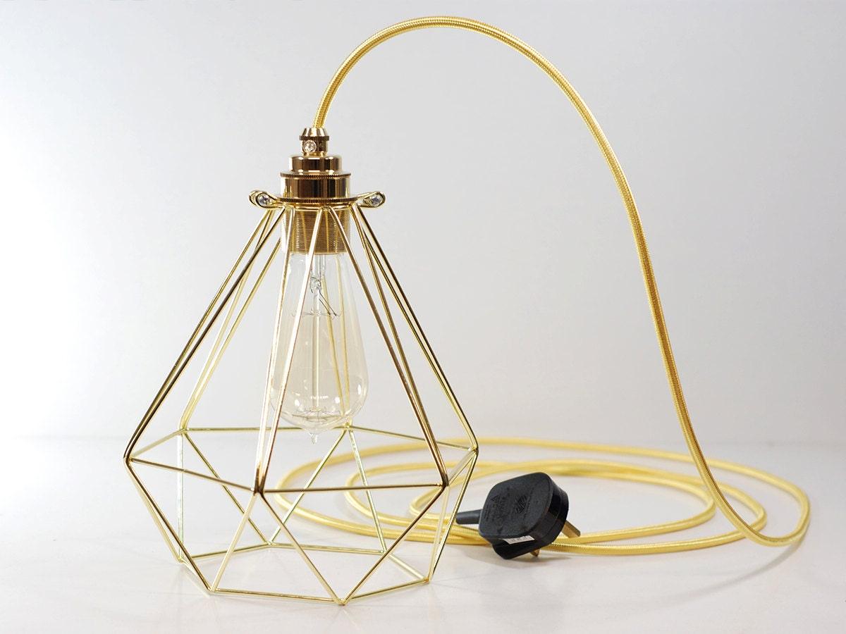 Reines Gold Vintage Industrie-Diamant Anhänger Draht Käfig