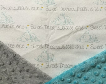 Personalized Minky Baby Blanket, Grey Dumbo Sweet Dreams Little One Minky Baby Blanket, Custom with Personalization