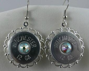 Silver Filigree Shotgun Shell Earrings