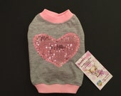 Grey and pink dog shirt with sparkling pink heart pattern Tank top for dog Cat shirt Designer dog clothes
