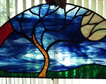 Tree and the Moon Stained Glass Panel