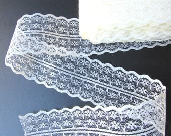 "2.5 yds CREAM shabby chic lace trim 1 3/4"" 45 mm, Beige burlap lace. UK Seller"
