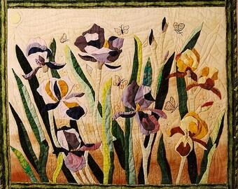 Wall Iris, my loves, fabric art quilt