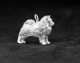 Sterling Silver Keeshond Charm, Silver Keeshond Pendant
