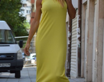 Yellow Ribbed Cotton Long Dress, Extravagant Summer Kaftan Dress, Daywear Loose Dress by SSDfashion