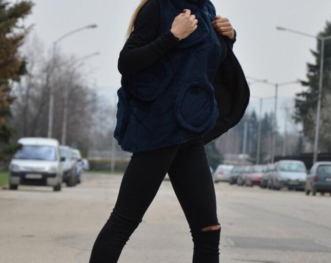 Womens Blue Vest, Sleeveless Long Vest, Loose Coat, Maxi Vest, Extravagant Wool Vest, Comfortable Coat By SSDfashion