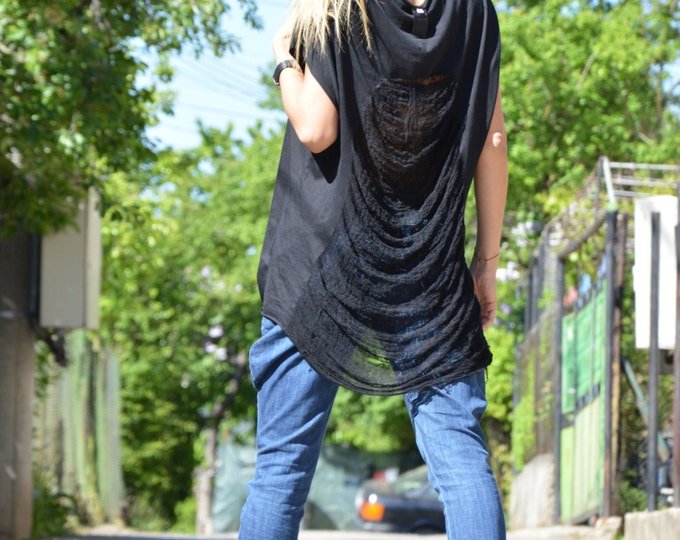 New Women's Cotton Top, Losse Top, Summer Top, Plus Size Tank Top, Maxi Blouse, Oversize Black Blouse by SSDfashion