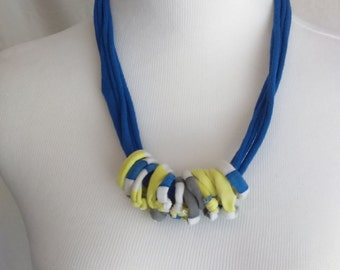 Upcycled Tshirt Yarn Necklace Blue with Loops