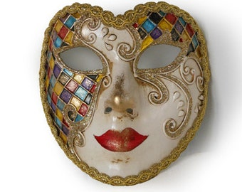 Full Face Venetian mask  - Heart Mask with Harlequin Pattern V33