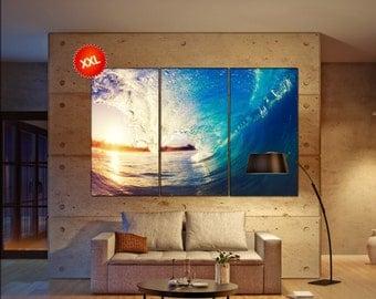 Sea wave canvas art prints large wall art canvas print inside Sea wave decor one three five panel Office Decor