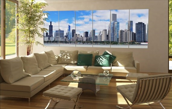 6 panels / boards Chicago city urban skyline panorama with skyscrapers over Lake Michigan Large panorama panoramic canvas wall art art
