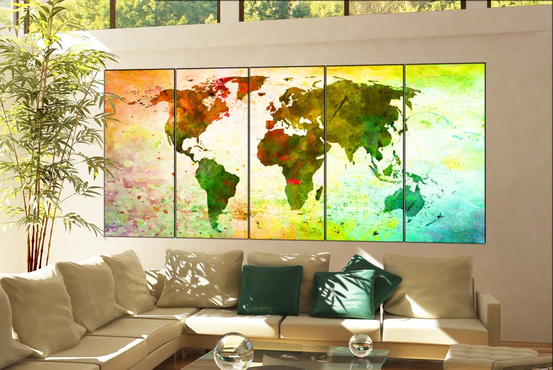 art print world map print on canvas wall art art print world map ...