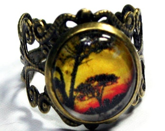 Vintage Style African Tree Filigree Ring