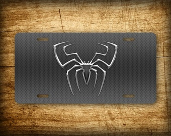 Spiderman Silver License Plate Superhero ~PERFECT GIFT~ Spider Web Aluminum Auto Tag  6x12 Peter Parker Marvel Comics