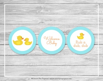 Rubber Ducky Baby Shower Cupcake Toppers - Printable Baby Shower Cupcake Toppers - Rubber Duck Baby Shower - Duck Cupcake Toppers - SP122