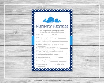 Whale Baby Shower Nursery Rhyme Game - Printable Baby Shower Nursery Rhyme Game - Blue Whale Baby Shower - Nursery Rhymes Game - SP127
