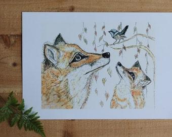 Fox and Wren A4 Print