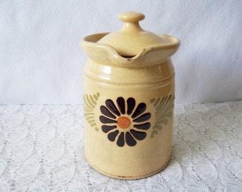 Pottery jug with lid, Soufflenheim Alsace, Yellow pot, pitcher – French farmhouse décor- French vintage. Cruche, pichet, pot à lait.