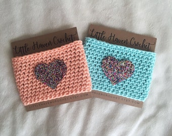 Rainbow Glitter Heart Crochet Coffee Cozy -- Gifts Under 10