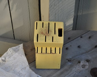 Shabby Chic Knife Block in Butter Yellow