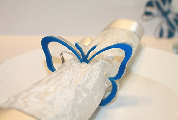 Blue napkin ring holders Butterfly napkin rings Christmas napkin holders Party Decorations Holiday napkin rings Dinner party Gift for Mum