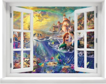 Window with a View Disney's The Little Mermaid Ariel and Eric Wall Mural