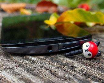 dust Plug, phone accessory, Dust plug fox, polymer clay fox, phone charm cute