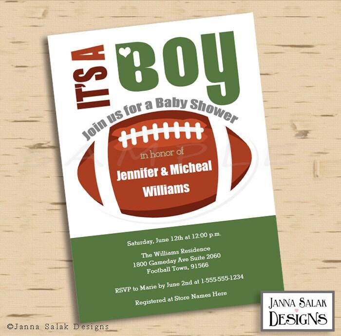 Football Theme Baby Shower Invitation 5x7 Green Invite Diy