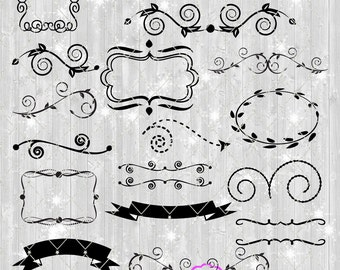 Banner and Flourish SVG Cut Files, Wreaths Frames Text Banners, Swirls, Bundled Set of 18, Use with any software that accepts SVG or DXF