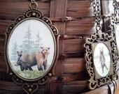 Mama Bear and Cubs // OOAK Pendant Necklace // Tiny Watercolor Amulet // Animal Medicine Totem Magic