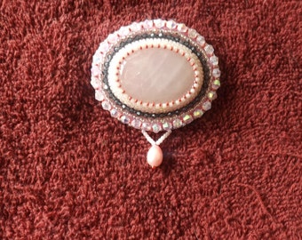 Beaded Pink Quartz Brooch by Beading4Bling