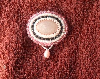 Pink quartz brooch by Beading4Bling