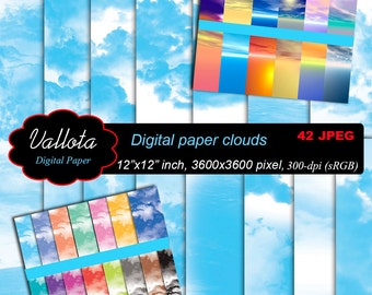 Digital paper clouds, sky horizon - blue clouds - color clouds.  A total of 42 JPG  files.