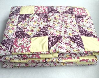 Patchwork Quilt, Single Bed Quilt, Pink, Purple and Cream, Star Bedding