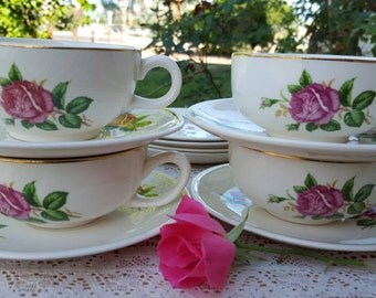Paden City Pottery rose pattern dinnerware, 20 piece set from 1950's.