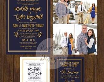 Photo Wedding Invitations, Engagement Photo Wedding Invite, Elegant Wedding Invitation, Navy and Gold Wedding Invites, Modern Wedding Invite