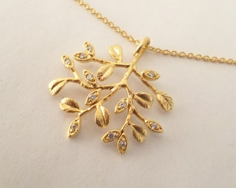 Gold Tree of Life Necklace. Wedding Jewelry. Bridal LIFE TREE Necklace.Gold Plated Collier. Bridal Necklace. Wedding Party Gift
