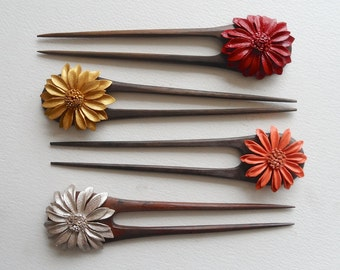 Very Cute Double-Prongs Hair Stick With Handmade Painted Leather Flower Top