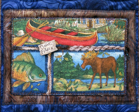 Outdoor Cabin Wall Decor : Outdoor quilted wall hanging gone fishin quilt cabin decor