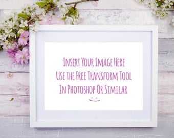 Frame Mockup Horizontal|Floral Styled Stock Photography|Wood Tabletop Flat Lay|Overlay Your Design