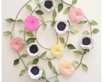 ANEMONE GARLAND // Felt Flower Garland // Floral Garland // Garden Party // Anemones + Roses // You Pick Custom Colors