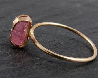 Tourmaline, stacking ring solid gold ring (8 CT)