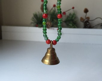 Small vintage brass bell Christmas ornament