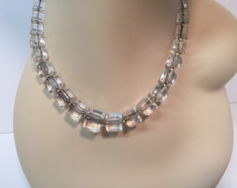Vintage glass cube faceted modernist necklace