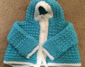 Vintage little girls hand knitted turquoise sweater with hood, size 6-12 months