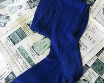Antique Edwardian Royal Blue Lace Detail Fully Fashioned Seamed Silk Stockings Size 10