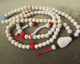 Japamala for meditation made of turquesina and yak bone