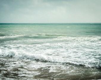 Beach photography, sea wall art, ocean home decor, pale teal green decor, coastal wall art, wave print, beach print