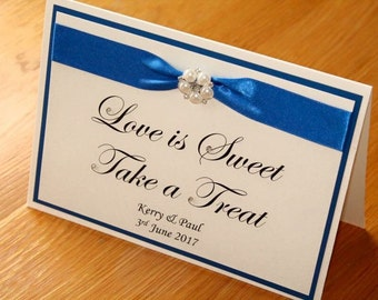 Sweet Cart Sign, Wedding sweet cart sign, Love is Sweet sign, Sweet Wishes from the new Mr & Mrs sign. Glitter wedding sign.